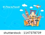 travel around the world with... | Shutterstock .eps vector #1147378739