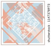 sweet silk scarf with abstract... | Shutterstock .eps vector #1147378973