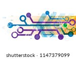 vector circuit board and... | Shutterstock .eps vector #1147379099