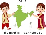 cartoon indian couple wearing... | Shutterstock .eps vector #1147388366