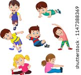 cartoon kids yoga with... | Shutterstock .eps vector #1147388369