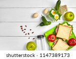lunch. sandwich and fresh... | Shutterstock . vector #1147389173