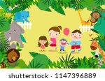 family playing in the zoo | Shutterstock .eps vector #1147396889