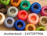 colored balls of yarn.... | Shutterstock . vector #1147397906