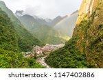 Rainbow over Aguas Calientes also known Machu Picchu Pueblo