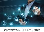 data protection cyber security... | Shutterstock . vector #1147407806