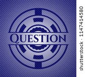 question badge with denim... | Shutterstock .eps vector #1147414580
