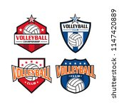 volleyball logo set with badge... | Shutterstock .eps vector #1147420889