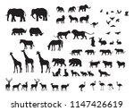 Stock vector silhouettes of wild animals in many types 1147426619