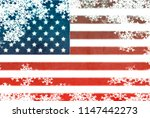 usa flag snowflake background | Shutterstock . vector #1147442273