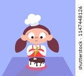 girl decorating chocolate cake... | Shutterstock .eps vector #1147448126