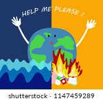 global warming concept. earth... | Shutterstock .eps vector #1147459289