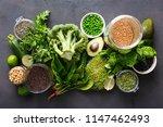 set raw vegetables andgrain... | Shutterstock . vector #1147462493