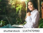 happy hipster asian cool girl...   Shutterstock . vector #1147470980