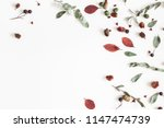 autumn composition. frame made... | Shutterstock . vector #1147474739
