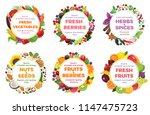 fresh food banner. nuts  seeds  ... | Shutterstock .eps vector #1147475723