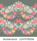 lace ribbon romantic floral... | Shutterstock .eps vector #1147478336