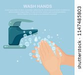 washing hands with soap.... | Shutterstock .eps vector #1147485803
