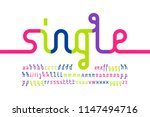 colorful one line font  one... | Shutterstock .eps vector #1147494716