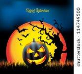 happy halloween poster template ... | Shutterstock .eps vector #114749500