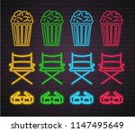 cinema icons elements set neon... | Shutterstock .eps vector #1147495649