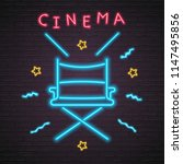 cinema chair icon light glowing ... | Shutterstock .eps vector #1147495856