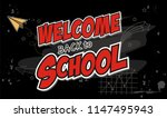 back to school text drawing by ... | Shutterstock .eps vector #1147495943