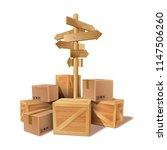 pile of stacked goods cardboard ... | Shutterstock .eps vector #1147506260