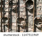 ancient wall of stone. metal... | Shutterstock . vector #1147511969
