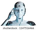 white woman cyborg thinking and ... | Shutterstock . vector #1147516466