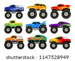 set of monster trucks. heavy... | Shutterstock .eps vector #1147528949