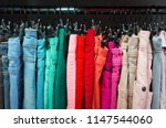 many colorful fabric jeans are...   Shutterstock . vector #1147544060