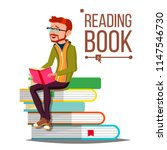 man reading book vector. giant... | Shutterstock .eps vector #1147546730