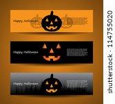 halloween header designs | Shutterstock .eps vector #114755020
