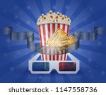 cinema concept popcorn film... | Shutterstock . vector #1147558736