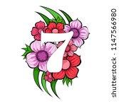 vector floral number seven... | Shutterstock .eps vector #1147566980