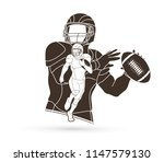 american football player action ... | Shutterstock .eps vector #1147579130