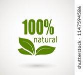 100 natural stamp illustration. ... | Shutterstock .eps vector #1147594586