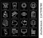 set of 16 icons such as bedside ...
