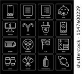 set of 16 icons such as saturn  ...