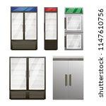 realistic empty refrigerators... | Shutterstock .eps vector #1147610756