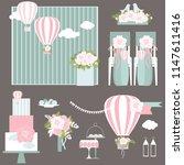 wedding flowers hot air balloon ... | Shutterstock .eps vector #1147611416