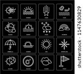 set of 16 icons such as windy ...
