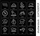 set of 16 icons such as clouds  ...