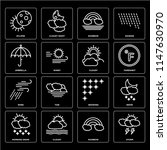 set of 16 icons such as storm ...