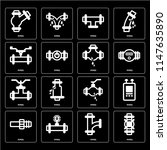 set of 16 icons such as pipes ...