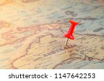 closeup destination and pin on... | Shutterstock . vector #1147642253