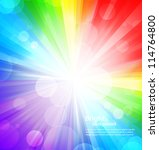 Rainbow Background With Circle...