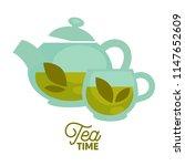 tea time. clear glass teapot...   Shutterstock . vector #1147652609