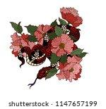 snake vector with flower... | Shutterstock .eps vector #1147657199